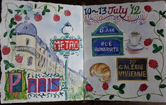 Paris Travel Journal Opening Page (noriko.stardust) Tags: street travel paris france colour art cup coffee leather sign watercolor painting notebook french sketch paint handmade border journal blogger illuminated note record letter watercolour croissant alphabet lettering colourful nouveau manuscript leatherbound notebookism bibliographica