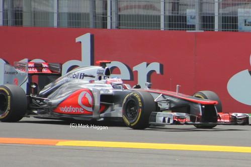 Jenson Button in his McLaren F1 car at the 2012 European Grand Prix in Valencia