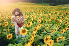 Londa & Effy (iFlook) Tags: portrait cute beautiful beauty wisconsin landscape nikon child madison littlegirl retouch londa sunflowerfield popefarmpark effy d5000 longwhitevintagedress