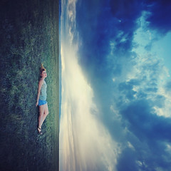 No less than the trees or the stars. (-Fearless-) Tags: summer portrait sky selfportrait storm girl field grass clouds photoshop self cloudy horizon down adventure fields shorts recline tilt tilted lay expansion laydown summerstorm