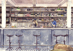 The Fountain Bar, Edinburgh (Wil Freeborn) Tags: fountain illustration bar edinburgh no touch agency watercolour chinz
