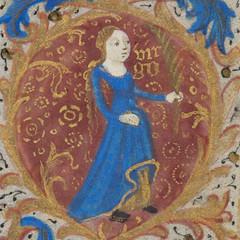 Zodiac sign of Virgo in a 15th century manuscript
