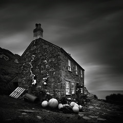 Fisherman's Cottage (Andy Brown (mrbuk1)) Tags: ocean longexposure chimney cloud house seascape building square landscape mono blackwhite cornwall stonework horizon remote filters desolate buoys abode kernow sashwindows neutraldensity