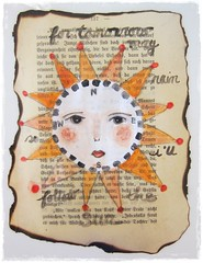 """""""motto"""" sun watercolor on vintage paper (peregrine blue) Tags: sun map scrappaper watercolorpainting smallpainting mixedmediaart sunillustration"""