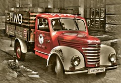 the old red truck (gruntpig) Tags: red color sepia truck poland krakow lorry vehicle motor clour