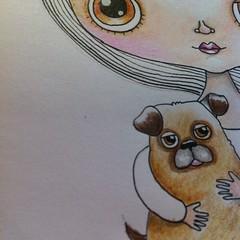 WIP new character and her pup (Heidi M Mcdonald) Tags: portrait pets cute cutegirl whimsical pus girlart heidim pugdrawing littlenore