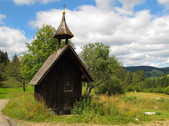 Tiny little wooden Chapel (Batikart ... handicapped ... sorry for no comments) Tags: road wood travel blue summer sky sun house plant mountains tree green nature field leaves yellow clouds rural forest canon germany landscape geotagged deutschland wooden leaf flora europa europe day natural path sommer natur feld meadows himmel wolken tranquility sunny chapel august growth fir grn blau ursula blatt landschaft sonne wald bltter idyllic spruce schwarzwald blackforest baum 2012 fichte schluchsee sander g11 kapelle stille badenwrttemberg swabian ruhe strase batikart canonpowershotg11 unterfischbach