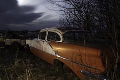 """Olds Heaven"" (mtmoonlight) Tags: lightpainting night montana junkyard 1956 olds oldsmobile"