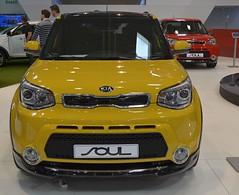 Kia Soul (Miki216) Tags: show car yellow mask headlights front exhibition bumper chrome soul kia bratislava 2014 worldcars