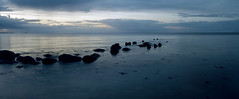 blue sunset on the beach (*Nils aus Kiel*) Tags: blue sunset sky water clouds germany landscape pano horizon