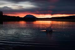 """Nadina Mountain: Nadina in Wet'suwet'en means """"stands up alone"""" (Spruceroots) Tags: sunset mountain lake bc sunburst splash northern lakesdistrict nadina francoislake wetsuwetenterritory bulkleynechako"""