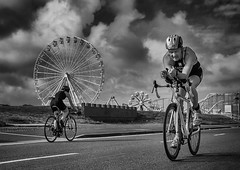 Wheels (Chris Willis 10) Tags: bw white black monochrome bike bicycle sport race mono ride action wheels triathlon southport