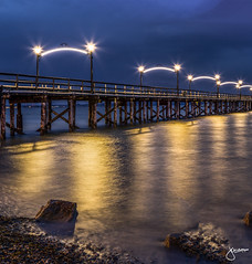White Rock Pier (jennchanphotography) Tags: nightphotography sunset night lights pier landmark whiterock bluehour iconic nightscapes explorebc jennchanphotography