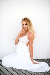 Bri In White (oshcan) Tags: portrait woman girl beautiful model nikon blonde 85mm14 d4s