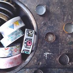 195/366 In a Bowl:  Dish/Food/Basin (Rhadonda1) Tags: bottle caps bowl tape washi