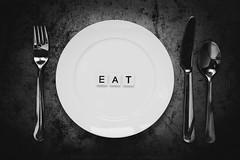 Eat (lkaldeway) Tags: blackandwhite stilllife food monochrome circle text letters knife plate fork spoon eat round alphabet