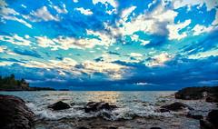 Confetti Sky (Bobby Palosaari) Tags: blue sunset sea sky cloud lake water coast wave lakeshore lakesuperior
