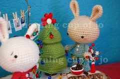 The Bunnies (a morning cup of jo) Tags: christmas blue winter red sculpture cute bunnies art toys photography snowflakes japanese design holidays december handmade crafts crochet decoration adorable christmastree christmaslights plush yarn plushies decorating stuffedanimals kawaii polaroids amigurumi crocheted decor cuteanimals crocheting babyanimals