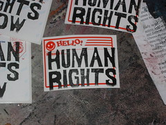 HELLO! HUMAN RIGHTS (andres musta) Tags: andres musta human rights sticker stickerart linoleum block print stickers zas zombie art squad zombieartsquad adhesive andresmusta slaps