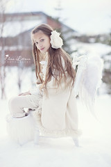 My White Angel (Elena (Litsova) Sigtryggsson) Tags: family winter white snow cold love nature girl iceland child daughter longhair naturallight pearls angelwings oldchair whiteoutfit myoldest hairbandmadebyme