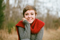 97620021 (heatherchipps) Tags: red cute film girl scarf 35mm canon hair photography sweater kodak cut x pixie short