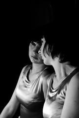 Aga (Adamina Lisiecka) Tags: portrait bw woman girl beauty contrast vintage mirror twins doll silk creepy advance stillness nocturne rewind doubleportrait advance2 rewind2 advance3 rewind4 rewind5 rewind3fornikonsnapper