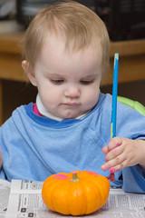 Gourd Painting #3 (Craig Dyni) Tags: halloween girl toddler madelyn alannah dyni