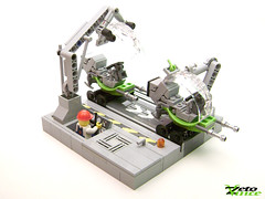 Assembly Line (LSB contest entry) (ZetoVince) Tags: bike greek factory lego space vince scooter line scifi vehicle minifig vignette speeder assembly zeto zetovince dreamdealer