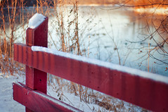 Little Red Snow Fence (pixelmama) Tags: california winter shadow snow yummy foxriver islandpark hcs redfence genevaillinois foxrivertrail offtoagoodstart clichsaturday litteredsnowfence gloriajeansirishcreamcoffee withadollopofbaileys getsadayofmerrymaking
