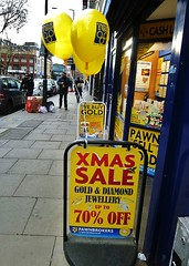 Even the pawnbrokers are hurting! (helenoftheways) Tags: street uk signs london balloons pawnbrokers 70off wesellgold
