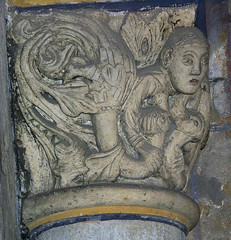 A woman breast-feeding dragons (petrus.agricola) Tags: from two woman abbey hall maria or capital entrance dragons breastfeeding benedictine atrium romanesque vices luxuria paradies laach