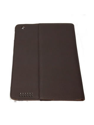 PU Soft Leather Folio Case for iPad 2 - Dark Choclate Brown