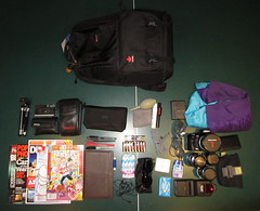 lowepro fastpack 250 setup (electro96) Tags: camera sunglasses rain comics gum cards 50mm book sketch md with minolta kodak wallet 5 sony flash tripod sigma case cleaning sd jacket 200 adapter strap headphones 17 100 kit af pens magazines filters 35 vivitar 19 batteries extra charger 250 tums 135mm lowepro ect fastpack a500 disposible