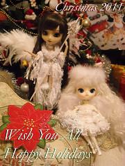 Happy Christmas 2011! (applecandy spica) Tags: christmas light brown white black natal angel dark weihnachten navidad holidays doll bright seasonal stock feathers dal ala pullip nol natale milch 2011