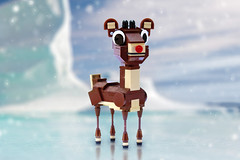 Rudolph the Red Nosed Reindeer (Carson Hart) Tags: christmas red mountain snow brick ice reindeer nose shiny lego spirit diorama antler nosed rudolphtherednosedreindeer