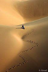 Path to Silence! (Algeria888 ( G.Zoua )) Tags: africa blue sky man sahara yellow gold algeria sand desert path space dune bleu ouargla terghi holidaysafricaalgeriaouargladunemansandskyyellowgoldbluebleupathspace
