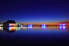 Tempe Town Lake Twilight (gbrummett) Tags: bridge blue sunset arizona beautiful for twilight arts pedestrian az center tca tempe tempetownlake img6596 cmwdblue canoneos5dmarkiicamera