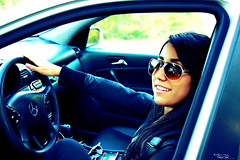 Aida (AXEHD) Tags: blue portrait cute girl smile car sunglasses photography mercedes benz driving ipod seat