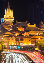 Nightly traffic @ Jing'an Temple (Feng Wei Photography) Tags: china city travel light urban color art tourism beautiful beauty yellow vertical architecture night contrast asian religious gold golden pagoda ancient shiny worship colorful asia downtown cityscape shine view shanghai traffic antique buddha buddhist religion vivid buddhism historic east vista historical aged oriental jingantemple