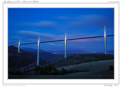 Le viaduc de Millau (BerColly) Tags: bridge sky france night landscape google flickr ciel pont bluehour paysage tarn nuit magichour millau viaduc aveyron massifcentral heurebleue bercolly