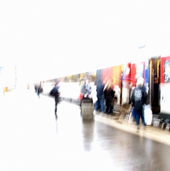 back to work (overthemoon) Tags: people wet rain train square schweiz switzerland vanishingpoint blurry suisse perspective windy sbb luggage highkey colourful svizzera vevey ffs vaud cff romandie 52weeks 12012