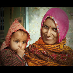 Mother & child (marsoyann) Tags: portrait baby india colors canon mother hijab bb bikaner rajasthan inde 40d