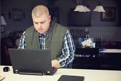 (Rebecca812) Tags: light man home work computer mouse concentration energy counter laptop husband read livingroom type vest casualclothing homeinterior 36years canon5dmarkii rebecca812