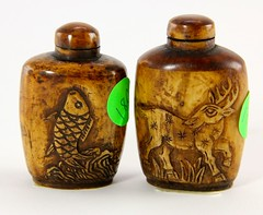 18. Stained Bone Snuff Bottles, Chinese