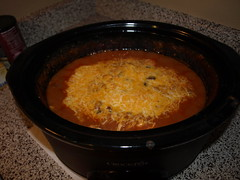 Crockpot Chicken Chili with Cheese