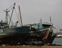 Saudi Fishing Boats on Shore (California Will) Tags: boats fishing decay redsea arabia jeddah saudiarabia hulks