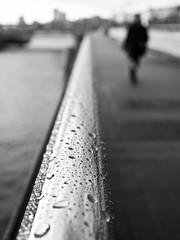 droplets left from rain // hamburg (pamela ross) Tags: street rain fence droplets drops dof bokeh harbour hamburg landungsbrücken stpauli regen