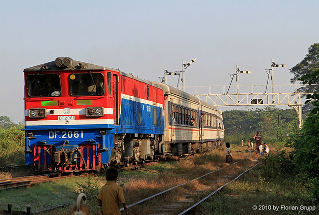 Express train pulled by DF2061 entering Bago station