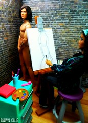 Inside the Artist Studio (Dawn Ellis) Tags: artist barbie aa diorama dollfurniture barbieandken blackdolls aabarbie dolldiorama barbiefashionista barbiebasics barbiepivotal kenbasics blackhardrockbarbie