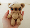 sweet posable ami bear (6) (Hellohappylisa) Tags: bear brown white cute animal ball pose stuffed doll hand sweet lace painted crochet adorable bow kawaii plushie aww bjd amigurumi msd bunka jointed posable